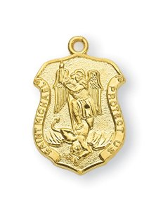 """14kt Gold Over Sterling Silver Tiny St. Michael The Archangel Shield-18"""" Chain Boxed 1/2""""x3/8"""" Patron Saint St. Medal Pendant Necklace In Gift Box"""