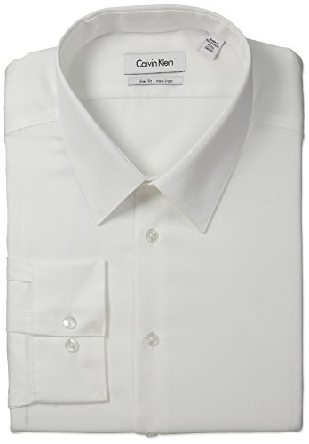 "Calvin Klein Men's Non-Iron Slim-Fit Striped Button-Front Shirt, White, 16.5"" Neck 34""-35"" Sleeve"