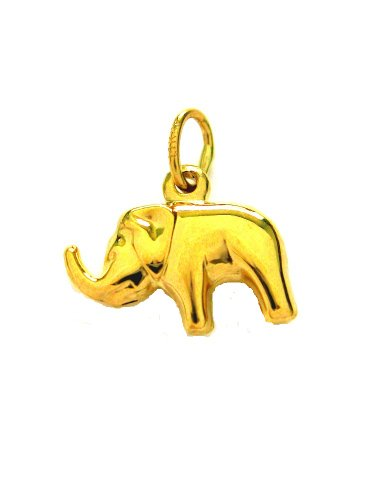 14K Real Yellow Gold Shiny Elephant Good Luck Charm 3D Pendant Small