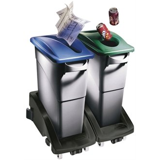 Rubbermaid Slim Jim Container by Winware (Separate waste efficiently and easily. Slimline bins with interchangeable, colour coded tops that indicate the type of waste: cans, bottles, paper and general refuse)