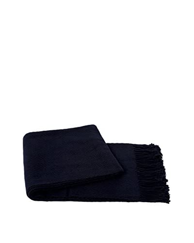 a & R Cashmere Cashmere & Wool Blend Chevron Throw, Navy