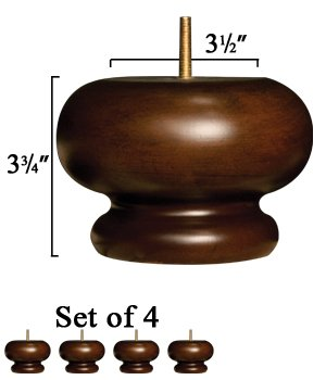 Set of 4 Couch Bun Feet - Solid Wood in Walnut Finish - Dimensions: 3.75