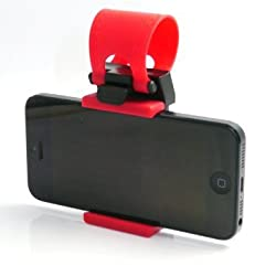 Universal Car Steering Wheel / Bike Handlebar Clip Mount Holder Stand Cradle for Apple iPhone 5 5S 5C 4S 4, iPod touch, Samsung Galaxy S5 S4 S3, Cell Phone, Mobiles, Smartphone, Android Phone, PDA, MP4, MP4, GPS, PAD (Random Color)