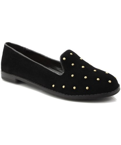 Qupid Strip-56 Studded Round Toe Loafer Flat BLACK