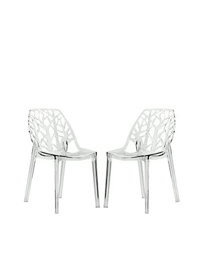 LeisureMod Set of 2 Modern Cornelia Dining Chairs, Clear