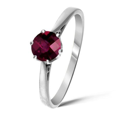 Stunning 9 ct White Gold Ladies Solitaire Engagement Ring with Rhodolite Garnet 1.00 Carat Size Q 1/2