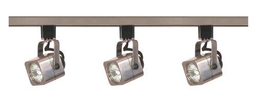 best buy on nuvo lighting tk347 3 light 50 watt mr16 square head track light kit brushed. Black Bedroom Furniture Sets. Home Design Ideas