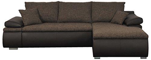 Mein Sofa CLSoft19 Eckgarnitur Cali mit Schlaffunktion und Bettkasten, circa 274 x 85 x 180 cm - Sitzhöhe circa 42 cm, Mix aus Kunstleder mit Webstoff, Recamiere rechts oder links verwendbar
