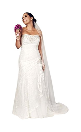 SAMPLE: Strapless Lace A-line Wedding Dress with Side Split Style AI13012269,...