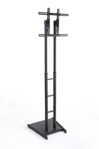 Cheap Digital Television Display Stand 26″w x 93″h x 26″d Black Metal Flat Screen Television Rack for 32″ to 70″ Monitors Weighing Less than 175 lbs. – LCD Bracket with Reverse Base to Place TVs Against the Window (B0090PAZSS)