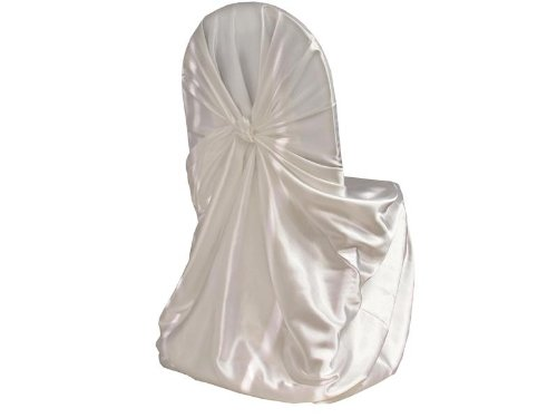 White Satin Universal Chair Cover (Set of 10). The Perfect Addition to Your Wedding Reception or Event. These Are Large Seat Covers Meant to Fit Any Sized Chair.