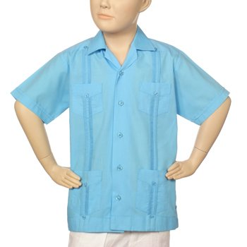 Boys poly-cotton guayabera in turquoise blue. Short sleeve