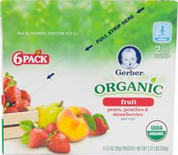 Gerber Organic Baby Food Pouches 2Nd Foods 3.5 Oz Pears Peaches & Strawberries -- 6 Pouches front-20836