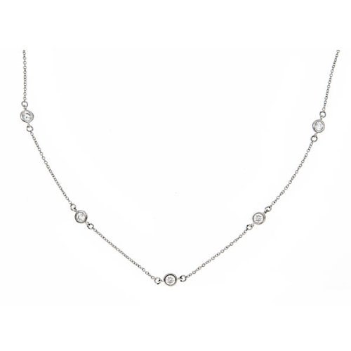 Designer Inspired Diamond by the Yard Necklace - Sterling Silver 18