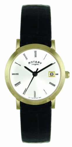 Rotary LS02624/01 Ladies Gold PVD Stainless Steel Watch with Black Leather Strap
