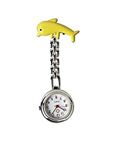 Monkeybrother Lovely Yellow Dolphin Nurse Table Pocket Quartz Watch with Clip Brooch Chain