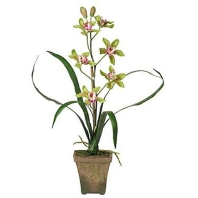 Nearly Natural 4066-GR Potted Cymbidium Silk Orchid Plant Green