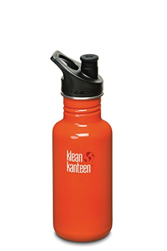 Klean Kanteen Classic Water Bottle With Sport Cap, 27-Ounce, Flame Orange front-1081042