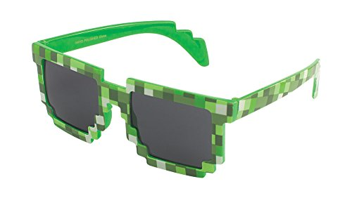 MJ Boutique's 8-Bit Pixel Retro Novelty Gamer Geek Sunglasses Adult Size (GREEN)