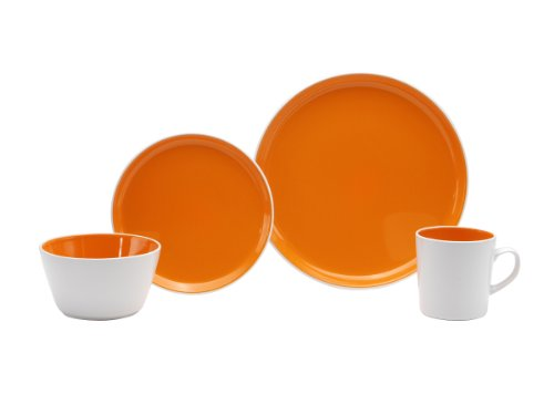 Oneida Color Burst Chili Mango 16-Piece Dinnerware Set, Service for 4