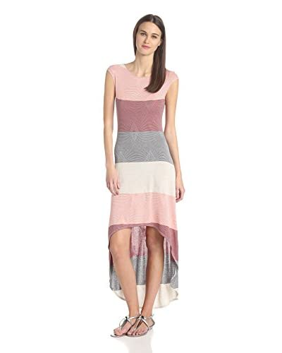 Three Dots Women's Boatneck Colorblock High Low Maxi Dress