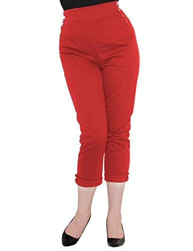 Voodoo Vixen -  Pantaloni  - Pantalone capri - Donna rosso X-Large