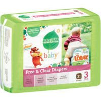 Baby, Free & Clear Diapers, Size 3, 16-28 Pounds, 31 Diapers
