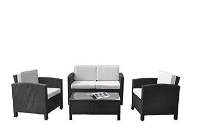 XINRO 13tlg. Deluxe Lounge Möbel Set Gruppe Garnitur Gartenmöbel Lounge Set Rattan Polyrattan Sitzgruppe - inkl. Lounge Sofa + Sessel + Tisch + Glasplatte + mit Kissen - In/Outdoor - handgeflochten - schwarz von XINRO auf Gartenmöbel von Du und Dein Ga