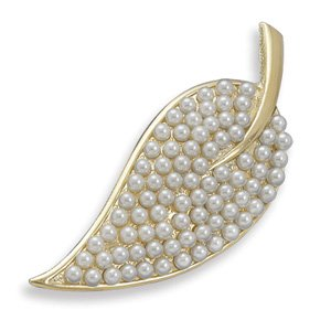Jewelry Locker 14 Karat Gold Plated and Pearl Leaf Fashion Pin