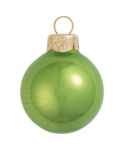 40ct Pearl Lime Green Glass Ball Christmas Ornaments 1.5