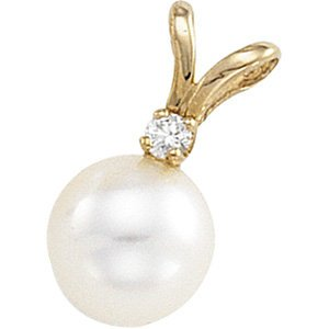 Genuine IceCarats Designer Jewelry Gift 14K Yellow Gold Cultured Pearl And Diamond Pendant.