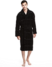 Luxury Pure Cotton Shawl Collar Checked Velour Dressing Gown