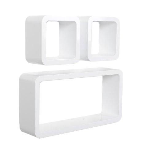 Set di 3 mensole da parete a cubo lounge design in stile retró in colore bianco.