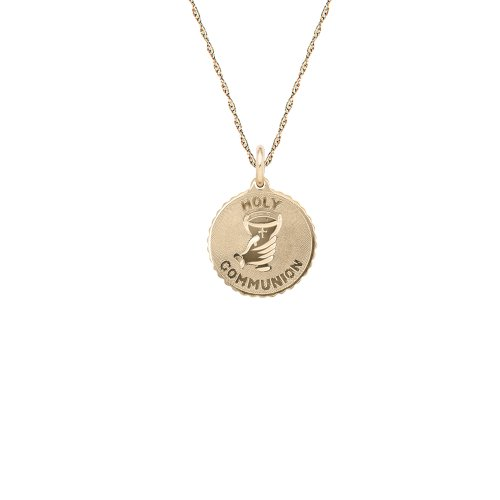 Children's 14k Gold Filled Round Holy Communion Pendant Necklace, 18