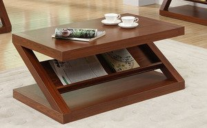 Dark Oak Z-Shaped Coffee Table by Poundex