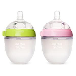 Comotomo Baby Bottle, Green/Pink, 5 Ounce, 2-Count