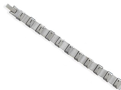 Stainless Steel Polished and Matte Finish Bracelet, 8-1/2 inch long, 5/16 inch wide
