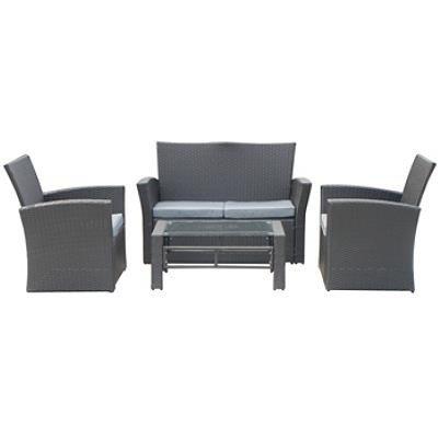 Luxus Garten Lounge Set - Sofa + Tisch + 2 Sessel - Poly-Rattan schwarz
