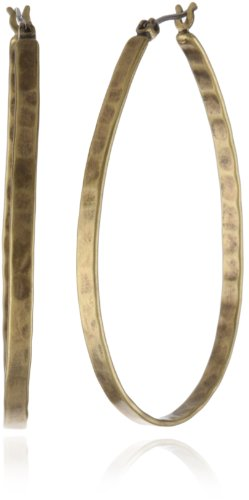 Lucky Brand Medium Gold-Tone Oblong Hoop Earrings