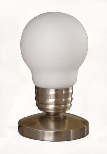 Simple Designs Nl2006-Wht Edison Style Minimalist Idea Bulb Mini Touch Lamp