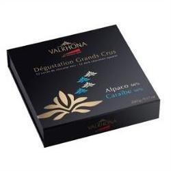 Valrhona 52 French Gourmet Chocolate Squares Caraibe & Alpaco, Dark chocolate 66% cocoa, Gift box