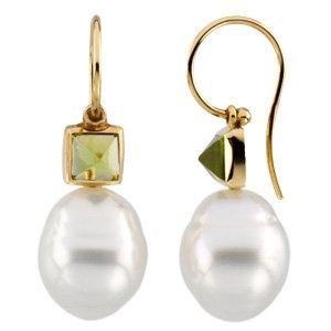 14k Yellow Gold S. Sea Cult. Pearl Peridot Earring 5mm 11mm - JewelryWeb