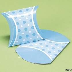 BABY SHOWER Blue Polka Dot Mini Favor Pillow Boxes