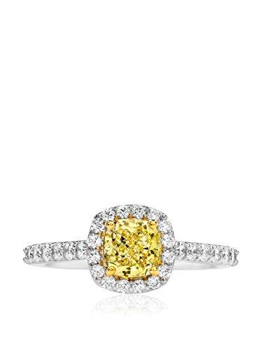 Bouquet 1-3/8 Carat Fancy Yellow Cushion Diamond/18K White Gold Ring