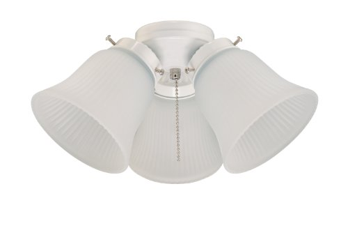 Westinghouse Lighting 7781400 Three-Light Cluster 3-Inch Fitter Ceiling Fan Light Kit, White Finish with Frosted Ribbed-Glass Shades