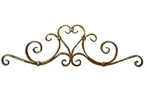 Shoreline Large Wrought Iron Wall Hanging Decor for Interior or Garden Use.-Blue-Green Patina