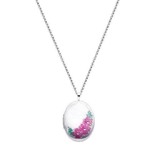 Sterling Silver Pink Enamel Flower Engraved Locket Pendant (1