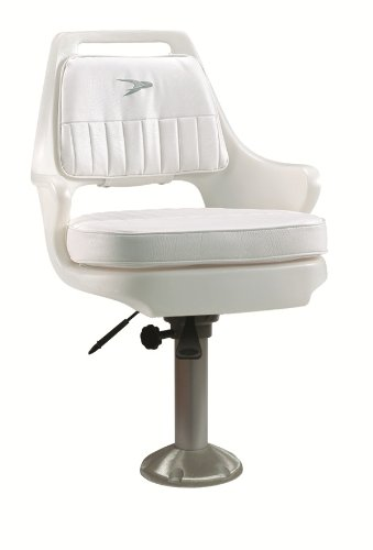 "Wise 8WD015-710 Standard Pilot Chair with Cushions, 15"" Fixed Height Pedestal, and Seat Slide, White"