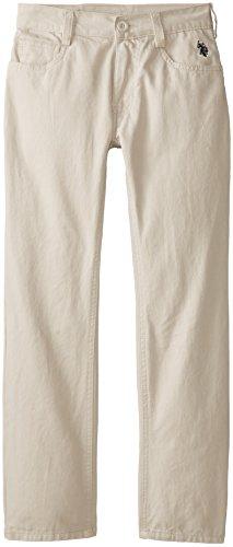 U.S. Polo Assn. Big Boys' 5 Pocket Twill Pants, Stone, 18