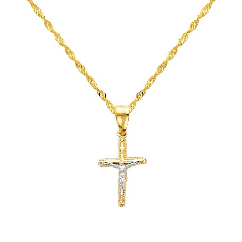 14K Yellow and White 2 Two Tone Gold Jesus Cross Religious Charm Pendant with Yellow Gold 1.2mm Singapore Chain with Spring Ring Clasp - Pendant Necklace Combination (Different Chain Lengths Available)